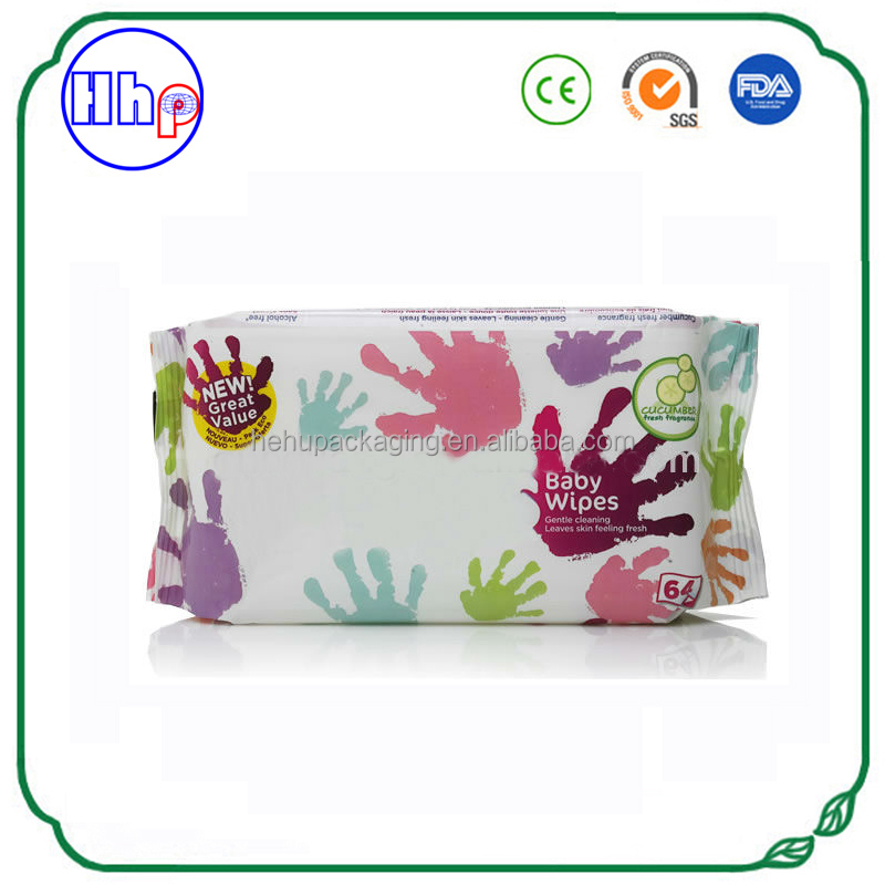 Moisture proof custom printing heat seal plastic baby wipes bag