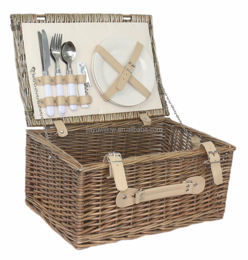 Willow Picnic Basket 2 Person Outdoor Wicker Hamper Set