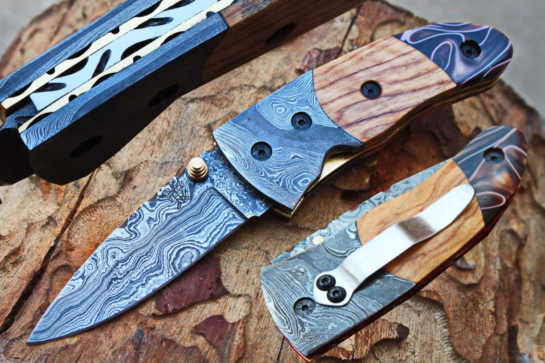 "Damascus 3.0"" Blade Custom Pocket Folding knife w/Damascus Bolsters, Clip, File-Work,Liner Lock,Olive wood, Kirinite & Sheath UDK-D-C-F-49"