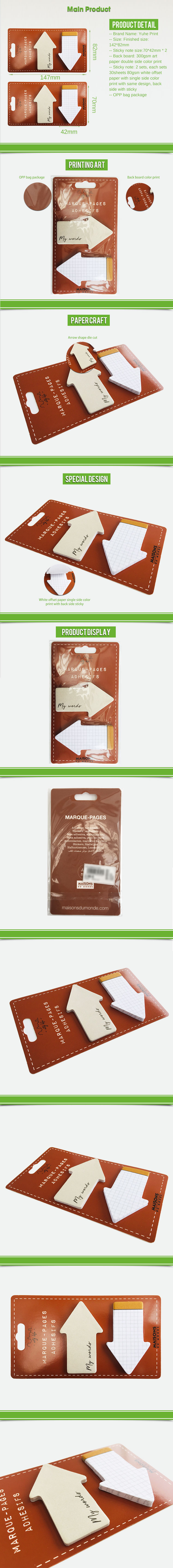 Custom Logo Eco Sticky Notes Case 100 Sheets arrows shape White Sticky Notes With Small Sticky Flags