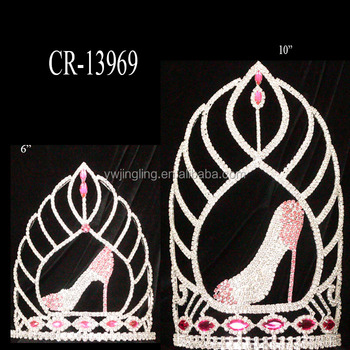Wholesale Cheap Pink Rhinestone High Shoe Pageant Tiara Crown