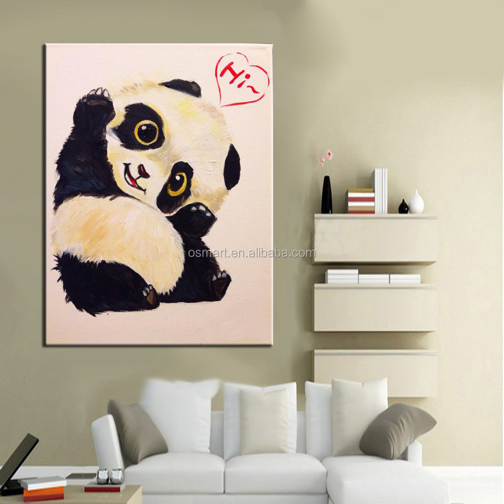 Baby Panda Says Hi Oil Painting On Canvas Jpg Room Wall Decor