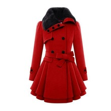 C58068S Autumn/winter fashion high quality double-breasted thicken women long overcoats
