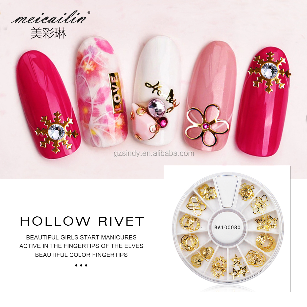 Golden 12 Shapes Nail Art Wheel Cute Mix Designs Tiny Slice Chip Nail Flakes Art Decoration Wheel Metal 3D Manicure