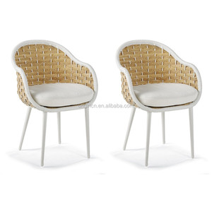 Italian modern style garden dining furniture with wide PE rattan woven and white metallic leg high back rattan chairs