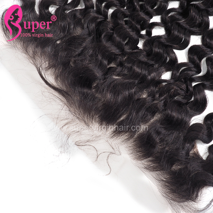 Swiss Lace Top Jerry Curl  Frontal,  Invisible Middle Brown Natural Headline Glueless Free Style Lace Frontal