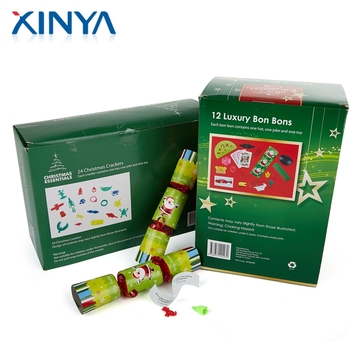 xinya hight quality products unique deluxe xmas 24 luxury christmas crackers with paper packaging