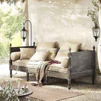 Deconstructed Old World Style Unadorned Daybed Of Vintage Savaged Solid Wood And Linen Bf11 07263c View Bisini Product Details From