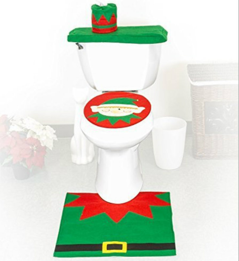 Christmas Home Decorations Santa Claus Snowman Elf Toilet Seat Cover And Rug Bathroom Set navidad Christmas Gifts And Decoration