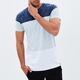 China supplier plain two tone color block breathable cotton net men's t-shirt