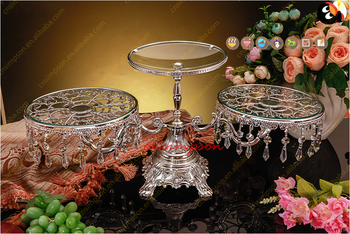 Glass Metal Cake Stand With Hanging Crystal, 3 Tiers Wedding Cake Stand