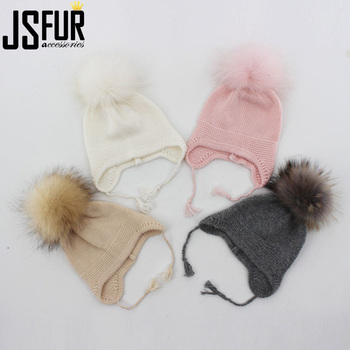 2020 hat 0-12M Cashmere Angora Blend Knitted Baby fur hat with fur pompom Girls Beanie hat with fur beanie cap knit