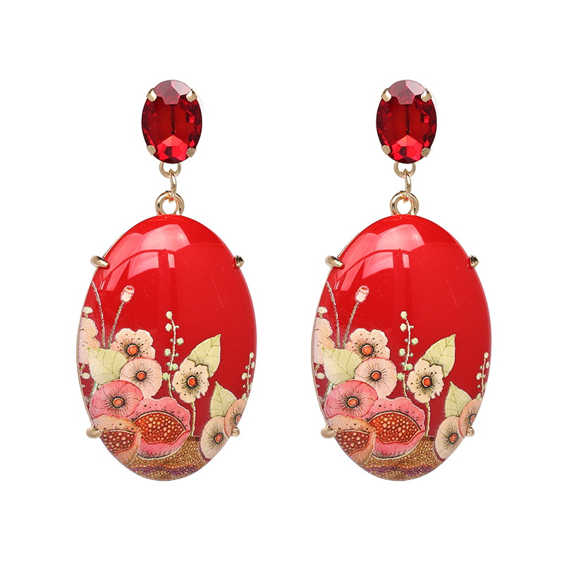 High-end Agatha New Design Grace Resin Retro Basic Dangle Stud Oval Earrings For Women