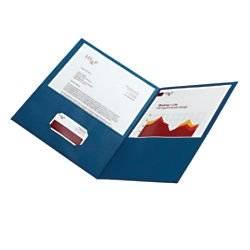 Office Depot(R) Brand Leatherette Twin-Pocket Portfolios, Dark Blue, Pack Of 25
