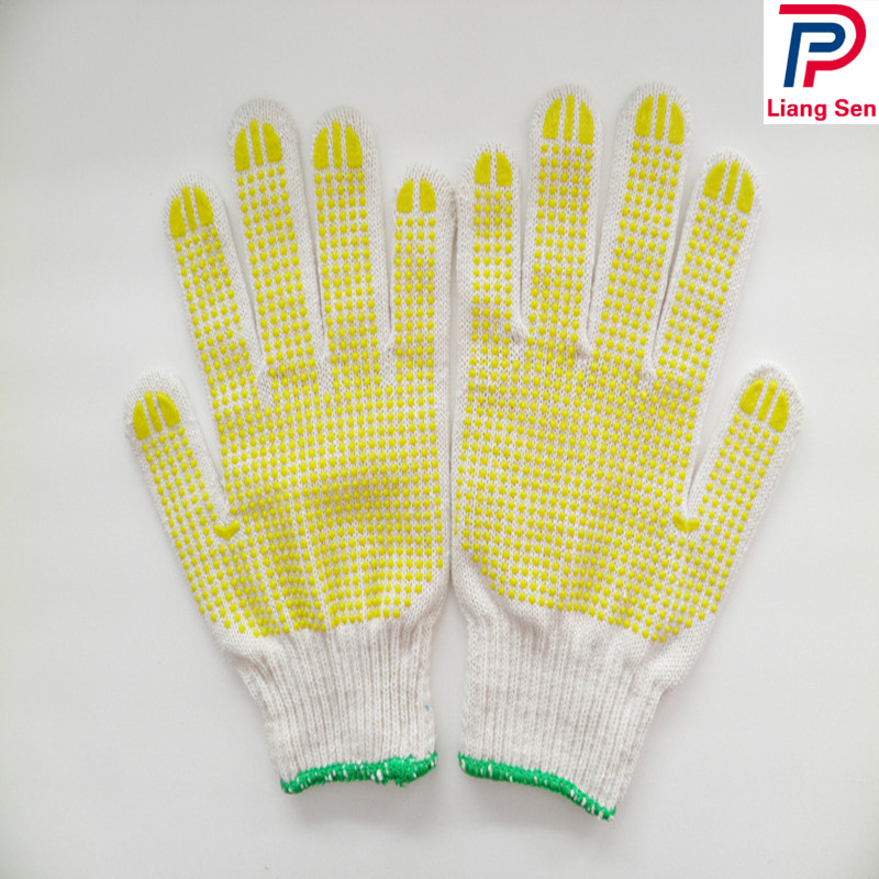 String Knit Gloves With PVC Dots