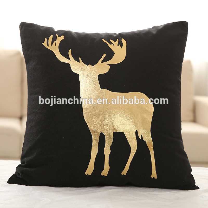 Bojian factory price polyester cushion home decor letter gold printing covers glitter pillow cover