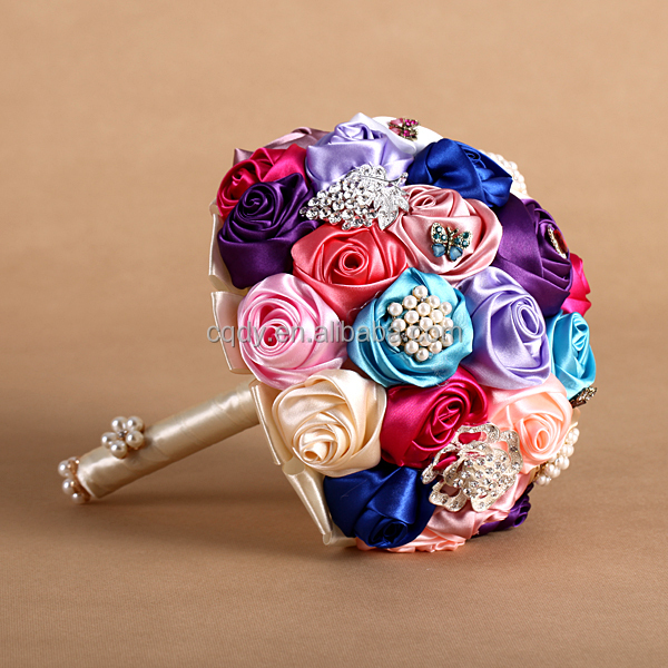 High-grade Rainbow Color Bridal Holding Bouquet Wedding Flower ...