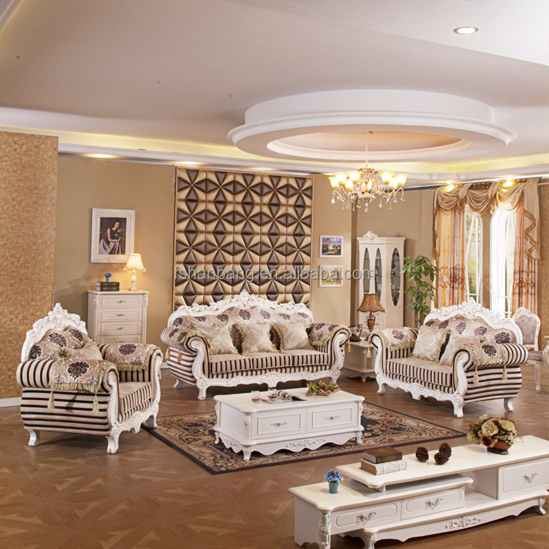 Luxury Antique Royal Style Gold Carved Wood Leather Living Room Furniture  Sofa Set