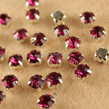 ruby 3mm/4mm/5mm/6mm Crystal Glass Chaton, Wholesale Pointback Glass Stone