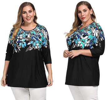 Hot Selling Women Plus Size Floral Tunic Pleated Neck Print Big Size Blouse Top