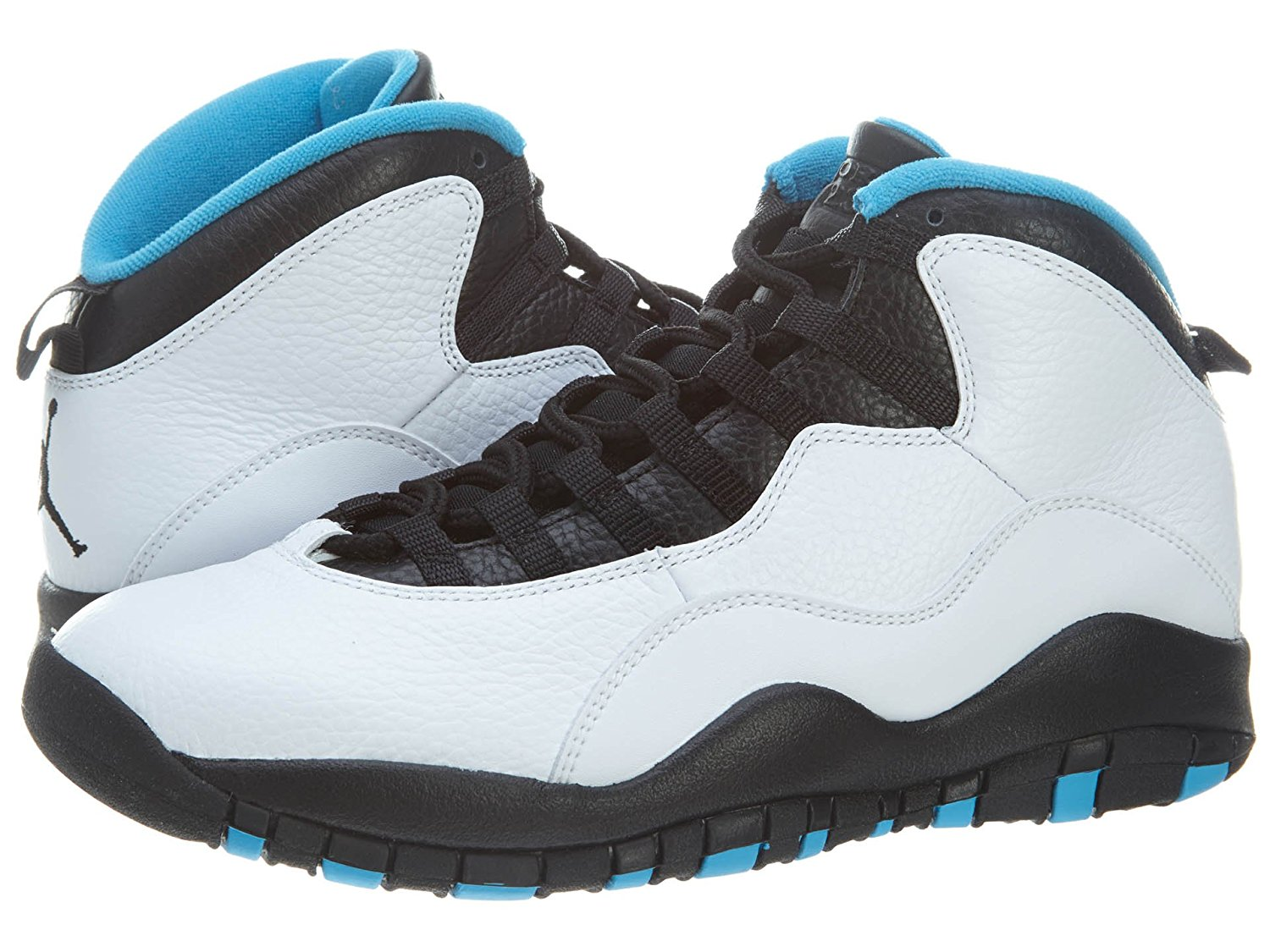 698bbbab102999 Nike Mens Air Jordan Retro 10 White Dark Powder Blue-Black Leather  Basketball Shoes