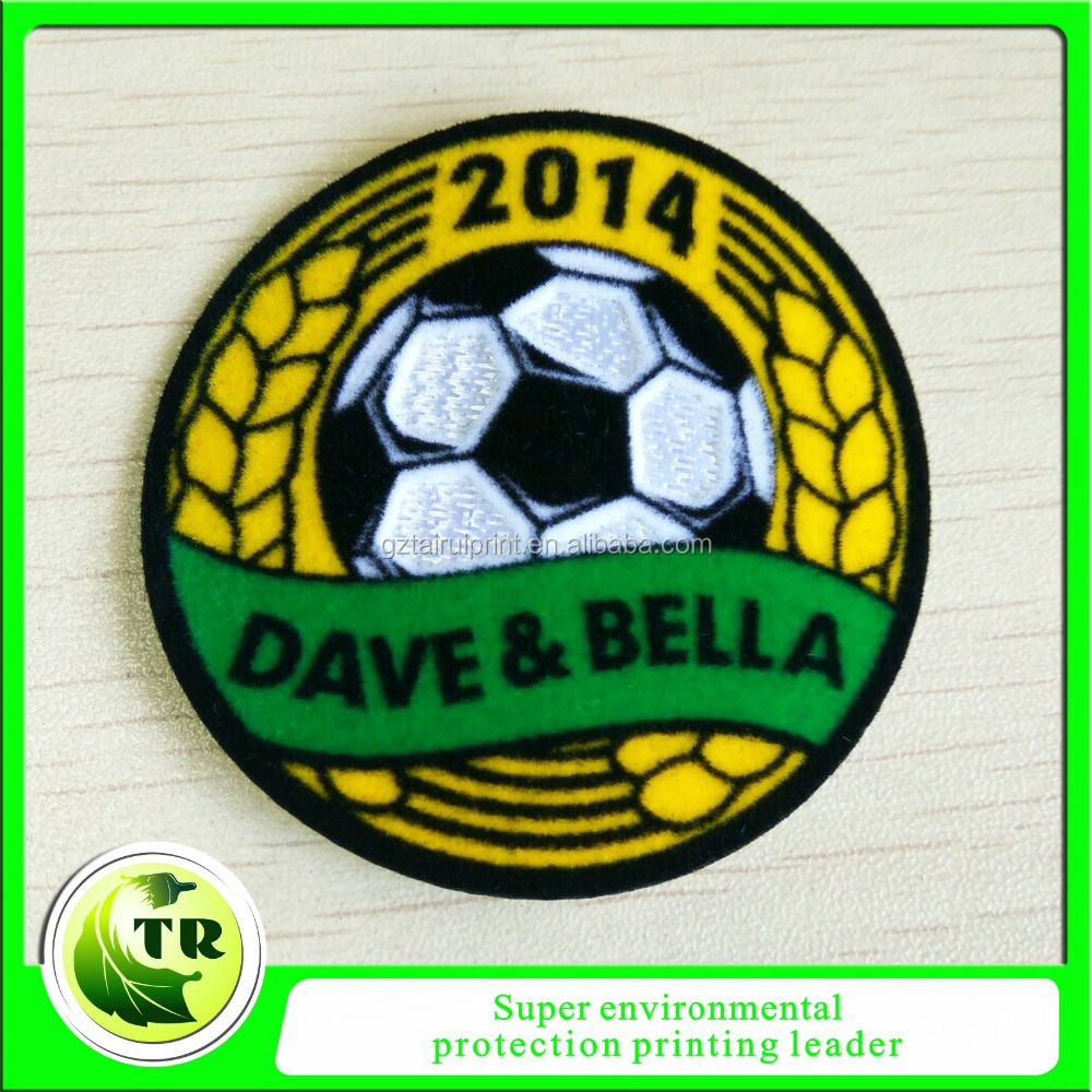 3d Feeling Soft Custom Soccer Patch Rose Flocking Patch Heat Transfer Printed Patch