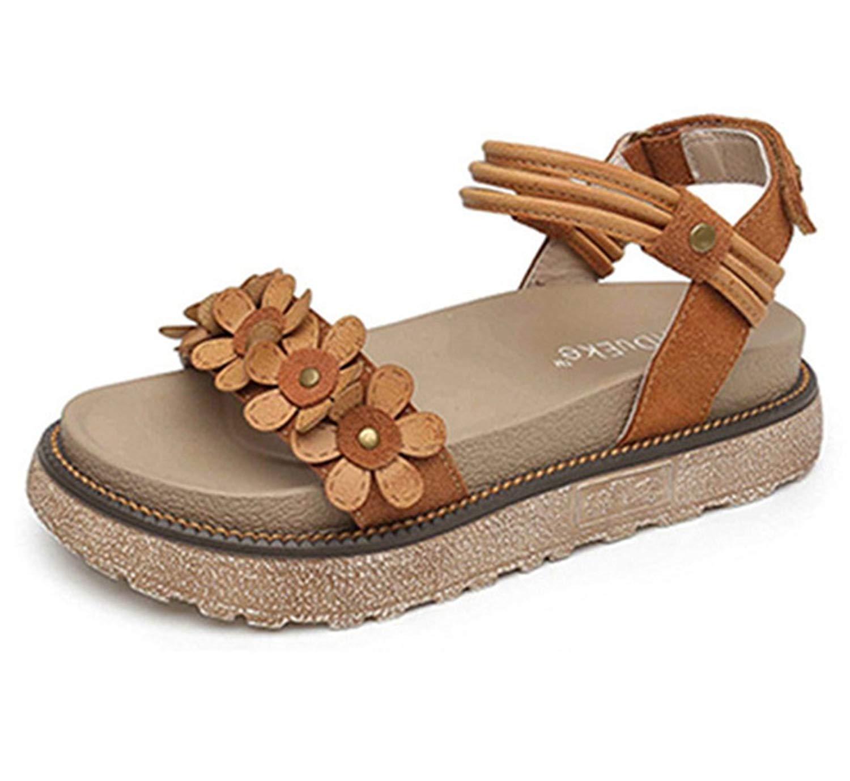 42b8333b3556 Get Quotations · Zarbrina Flat Heel Platform Sandals for Girls Womens  Fashion Floral Decor Thick-Soled Anti Skid