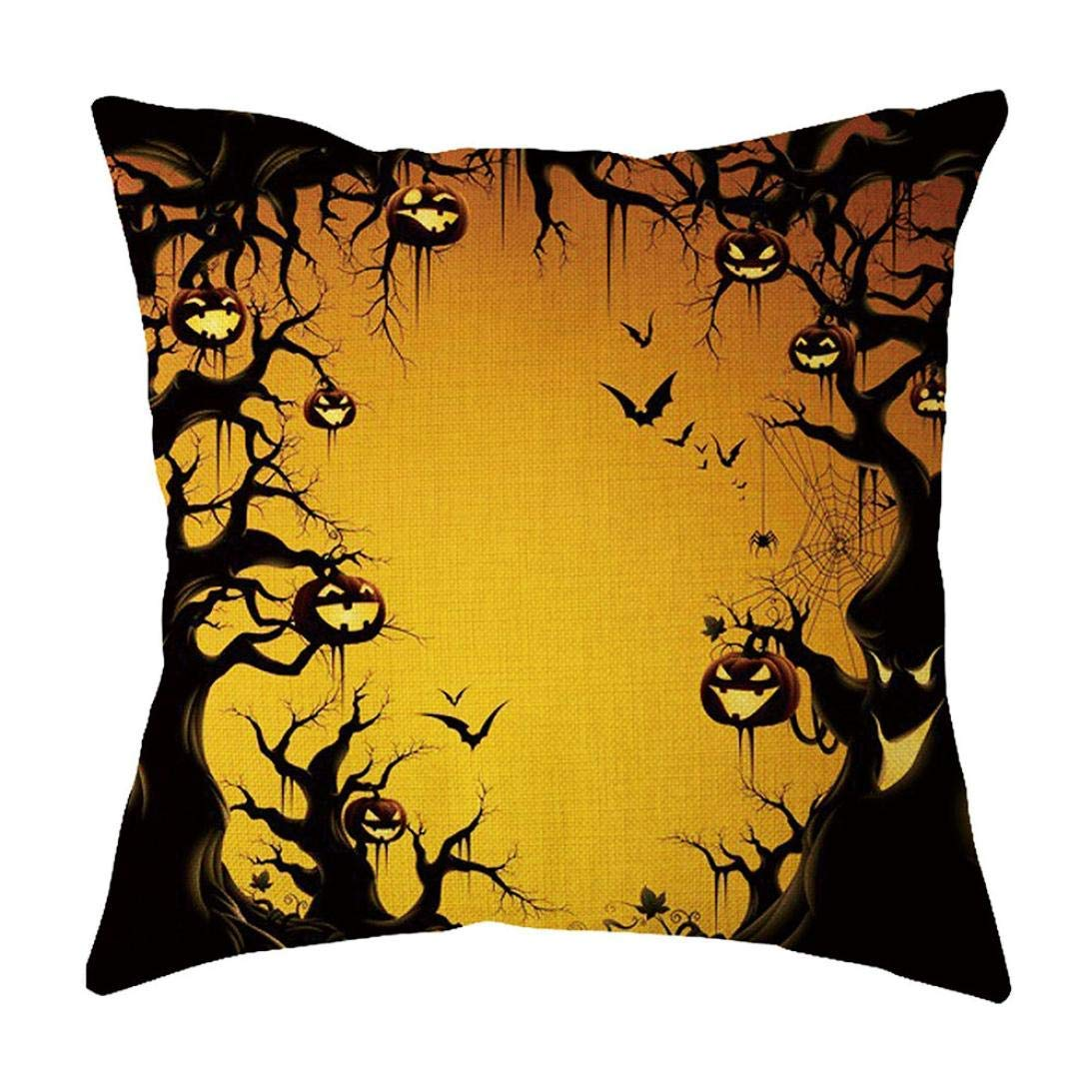 MaxFox Halloween Geometric Design Throw Pillow Cover Flax Pillow Cover for Office Sofa Bedroom Car Decor