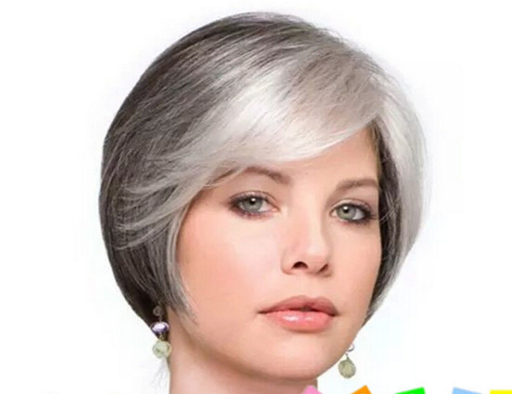 Hair Sw Short Straight High Temperature Fiber Synthetic Wig With Bangs Bob Womens Classical Blonde Wigs For Ladies Hair Extensions & Wigs