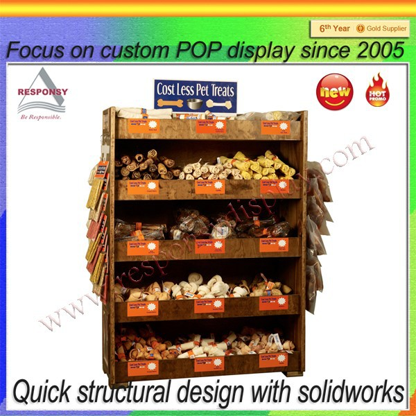 Woden Retail store pet food display shelf
