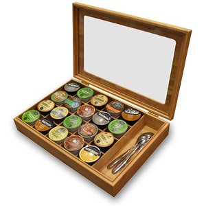 Bamboo Keurig K-Cup or Nespresso Vertuoline Organizer/Display Box with Accessory Section