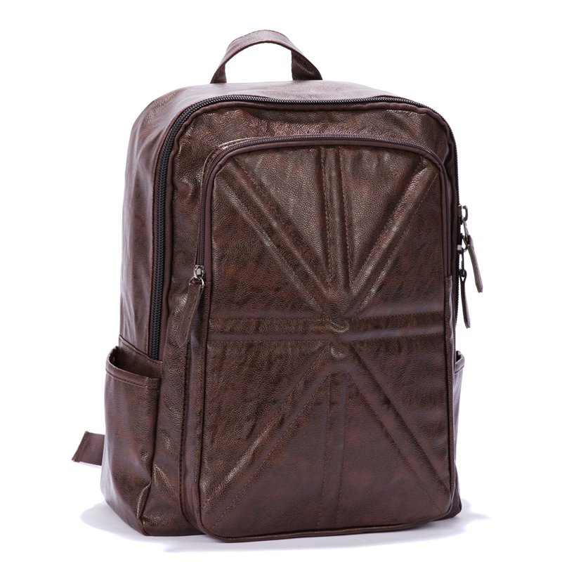 fashion man's backpacks travelling backpack washing pu leather knapsack