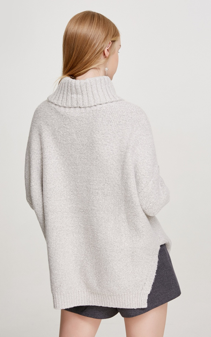 Custom cable knit comfy knitted women turtleneck sweater