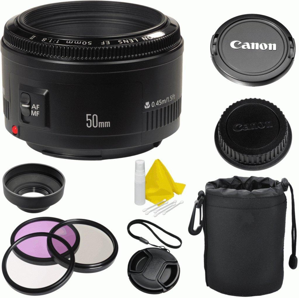 Canon EF 50mm f/1.8 II Autofocus Celltime Premium Fixed Lens Kit for Canon EOS 7D, 60D, EOS Rebel SL1, T1i, T2i, T3, T3i, T4i, T5i, XS, XSi, XT, XTi Digital SLR Cameras