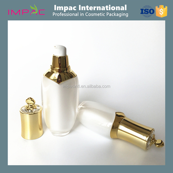 Unique empty luxury pearl white acrylic bottle 50ml with gold cap