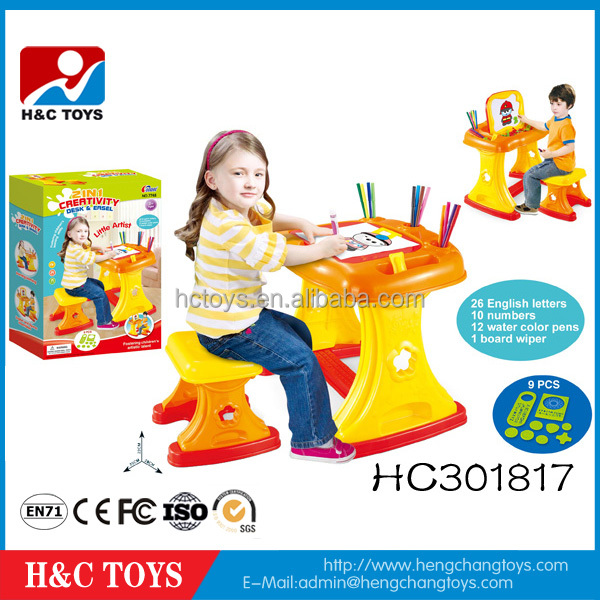 Wholesale kids learning table easel 2 in 1 kids plastic study table hot sell with chair HC301817