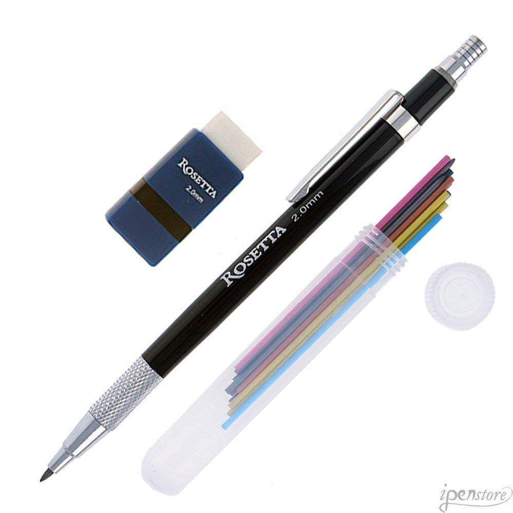 Rosetta Da Vinci 2 mm Mechanical Pencil Set, Rainbow Leads & Sharpener, Black