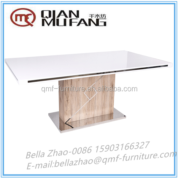 price 50% off oak paper veneer&high gloss sparing mdf dining table