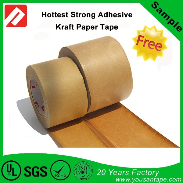 Water Activated Fiberglass Security Reinforced Custom Logo printed Kraft Gummed Paper Tape