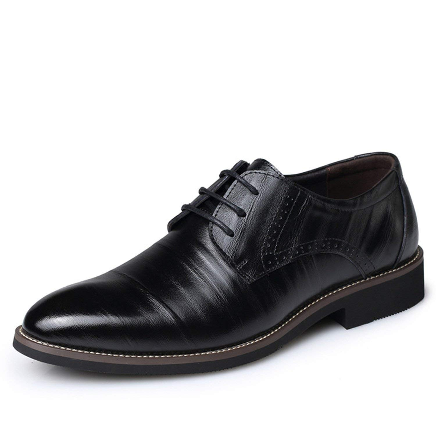 Memoriesed Big Size 37-48 Oxfords Leather Men Shoes Fashion Casual Pointed Top Formal,Black,7