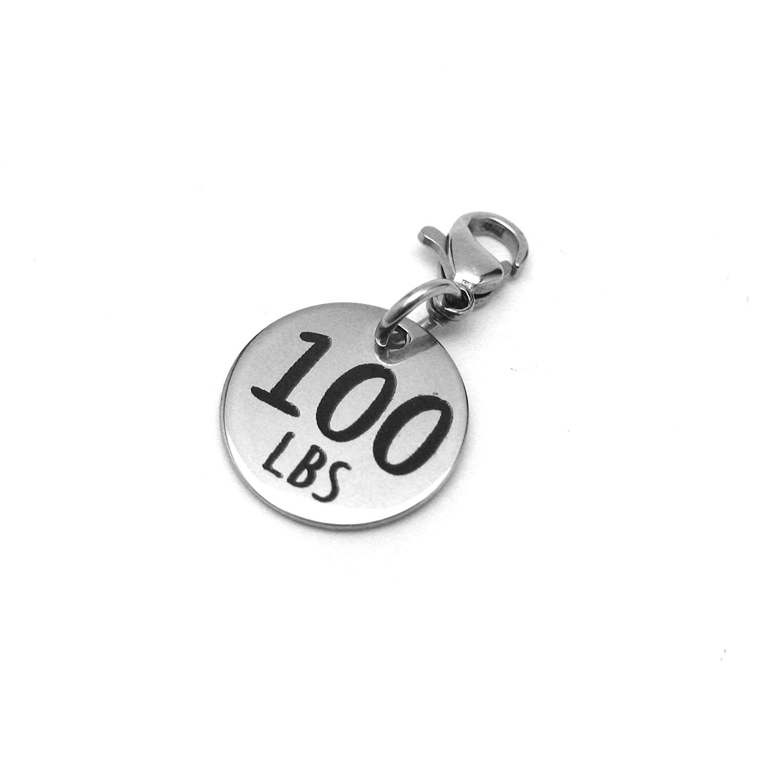 30 lbs Weight Loss Jewelry Charm Motivational and Inspirational Jewelry for Fitness and Workout Motivation for Pounds Lost Stainless Steel Engraved Charm and Clasp Tarnish Free Charms