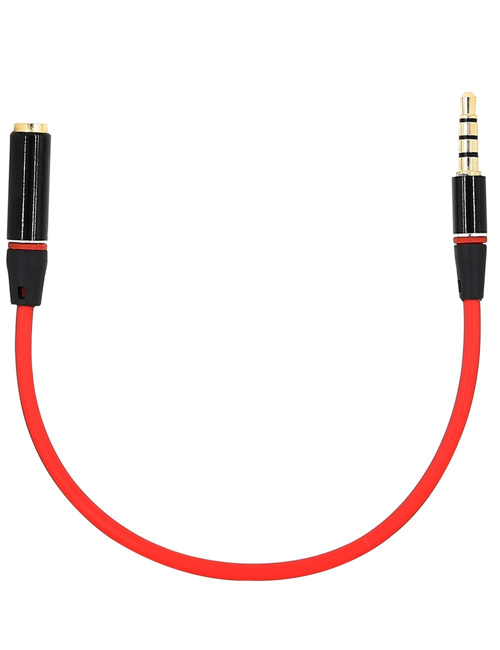 3.5mm Male to Female Audio Extension Cable, iMangoo Auxiliary Stereo Aux Cable (20cm/0.65ft) Headphone Earphone Audio Cable for Cell Phone iPhone 7 Plus 6s Galaxy Note 7 S7 Edge Smartphone Black/Red