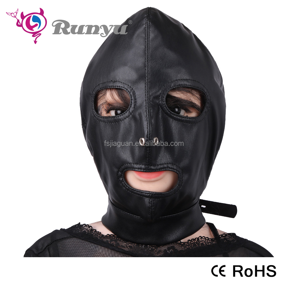 Leather Mask Products Open Mouth Eyes Adult Game Fetish Bondage Mask Hood Sex Toys For Couples