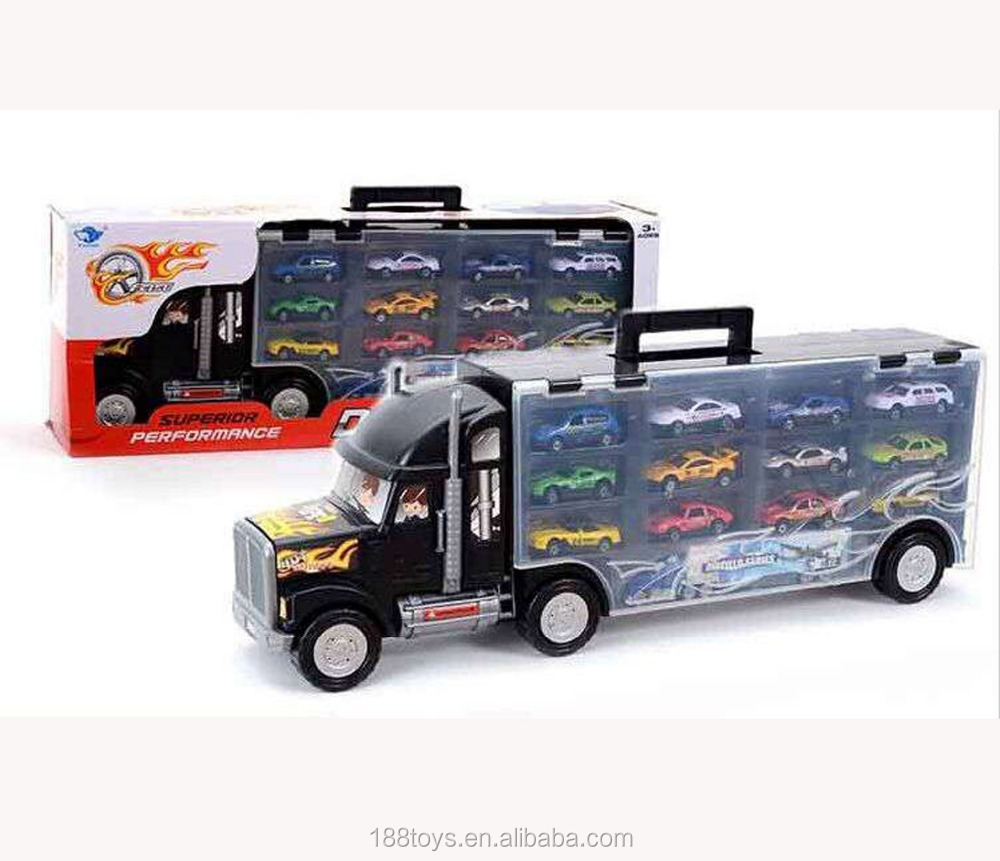 2016 hot sell china toy die-cast container truck toy metal model car with 12pcs samall car toy