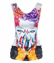 Hot Milk silk o neck sleeveless white custom 3d print t shirt for women