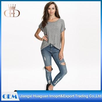 Wholesale Longline Women Hip Hop Oversized Scoop Neck T Shirt ...