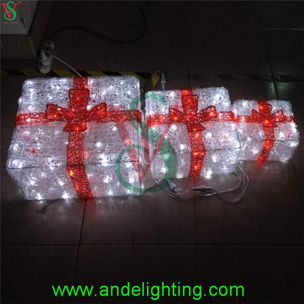 Acrylic Lighted Outdoor Christmas Decorations Gift Boxes ...