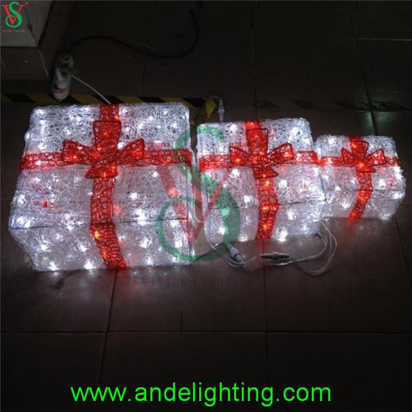 Gift Box Christmas Decorations: Acrylic Lighted Outdoor Christmas Decorations Gift Boxes