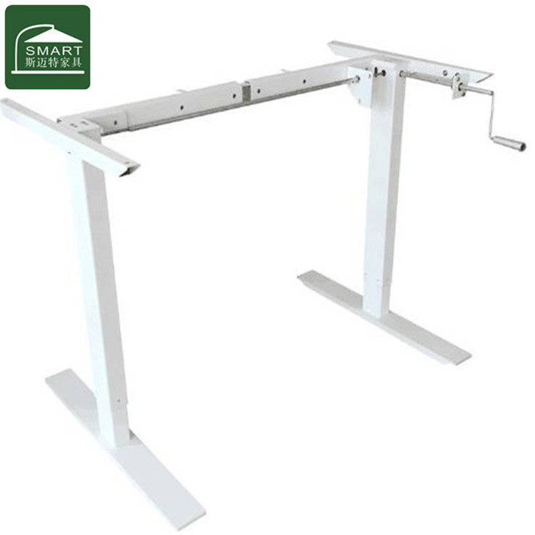 hand crank lifting office desk sit stand height adjustable steel table leg