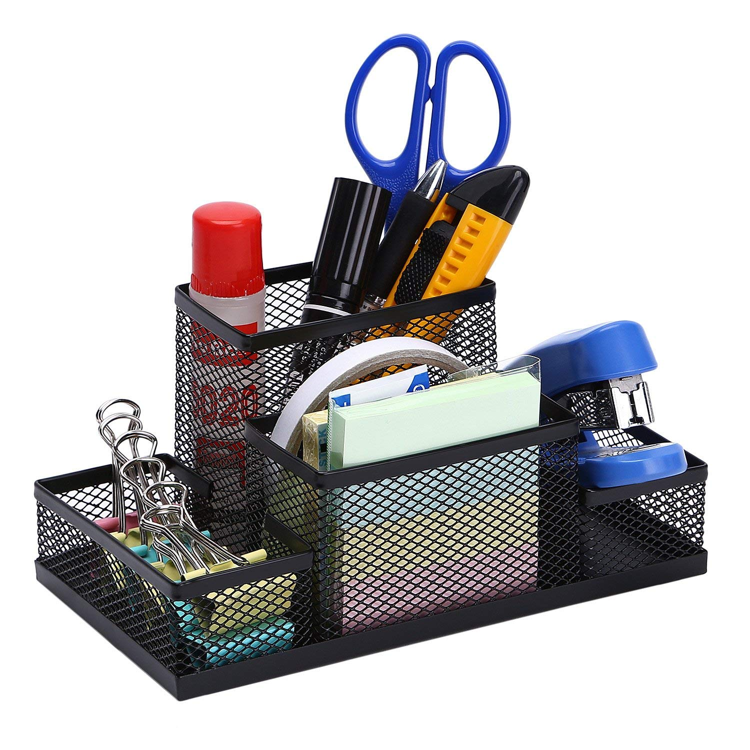 TOROTON Office Supply Caddy, 5 Compartments Metal Mesh Multi-Function Office Desk Stationery Organizer Holder, for File folders, Stapler, Calculator, pens -Black
